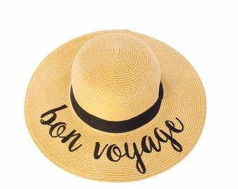 Floppy Beach Hat - Bon Voyage - Embroidered Large Brim Sun Hat - Floppy Hat - Vacation - Summer - Boat Hat - Pool Sun Hat - Beach Sun Hat
