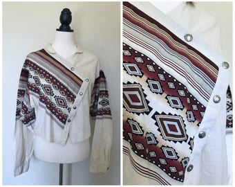Vintage 1990s Southwestern Western Asymmetric Cotton Button Up Shirt Blouse Top - Sz. Large