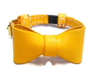Cat Collar With Bow - Leather Bow-Tie Cat Collars, Breakaway Cat Collar