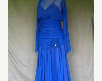 On Sale 1970's Royal Blue Chiffon Over Cranberry Formal Evening Dress Lillie Rubin