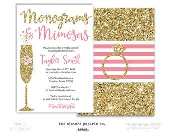 Monograms and Mimosas Bridal Shower Invitation - TAYLOR Collection - Mimosas & Monograms - Bridal Brunch Invitation