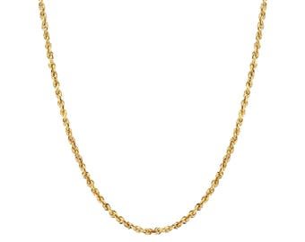 "14K Gold Rope Chain Necklace, Rope Chain,  1mm, 16"", 22"", 24"" with Lobster Clasp"