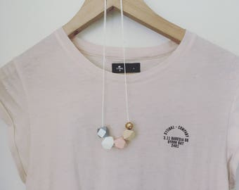 Wooden bead necklace // Geometric and round wooden bead necklace  |  pastel pink, grey, white, natural and  gold with white spots hand paint