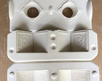 Vintage Estate Baby's First Blocks Ceramic Mold D-291 Dona's Molds B5