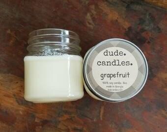grapefruit candle. 8oz soy candle. dude candle. mason jar candle. citrus candle