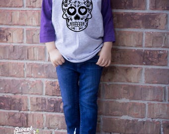 Sugar Skull, Halloween Raglan, Halloween Shirt, Cute Toddler Shirt, Cute Halloween Shirt, Monster, Cute Halloween,  Cute Boy Clothes
