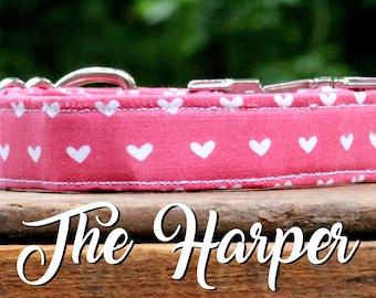 Dog Collar Hearts, Hearts Dog Collar, Girl Dog Collar, Pink Dog Collar, Pink Collar, Hearts Collar, Girl Collar, Girly Dog Collar, Collar