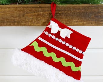 Modern Unique Boutique Mrs. Claus Skirt Christmas Stocking Sized Smaller for Pets