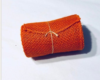 Orange Jute Burlap I Jute Burlap I Burlap Roll I Orange Burlap  | 15 feet