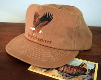 Vintage Weyerhaeuser Logging Brown Flannel Trucker Hat with Embroidered Eagle Tonkin USA
