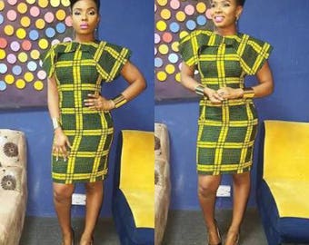 African Ankara Midi Dress with Shoulder Detail || African Dresses, Midi Dresses, African Print Dresses, African Formal Dresses, African Part