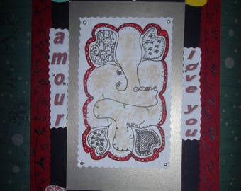 "love/Valentine's day made ""doodling"" handmade card"