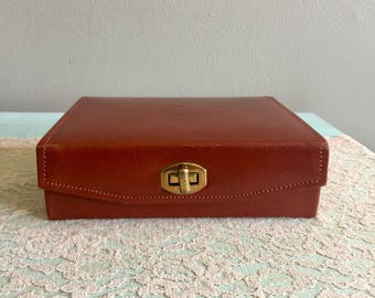 Vintage King leather jewelry case masculine travel jewelry box genuine cowhide valet case