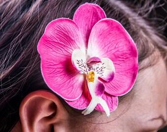 Pince à cheveux fleur Orchidée phalaenopsis  / Barette / Mariage / Tropical / Pin-up Rose