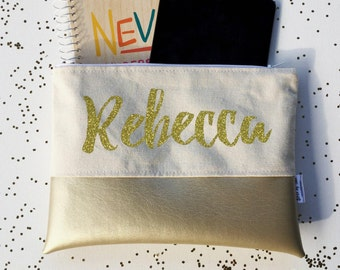 Blush Bridesmaid Gifts - Glitter - Proposal - Personalized - Name - Makeup - Navy -  Personalized Gift Makeup - Makeup Bags