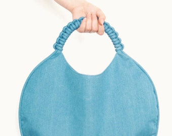 Runde blaue denim Tasche, Knoten Handtasche, denim Einkaufstasche, blaue denim Handtasche, Stoff umhüllt, Jeanstasche, Knoten Seil, nautical