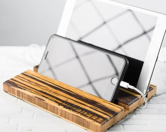 Tablet iPad Phone Stand Men Personalized Dock Charging Station Wood Wedding Groomsman Monogram Double Slot Tiger Stripe