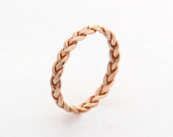 Rose gold promise ring, Rose gold ring band, Unique womens wedding band, Rose Gold wedding ring delicate wedding band rose gold twist ring