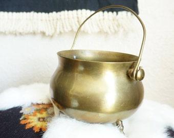 Vintage Solid Brass Cauldron / Planter / Pot / Pail with Handle