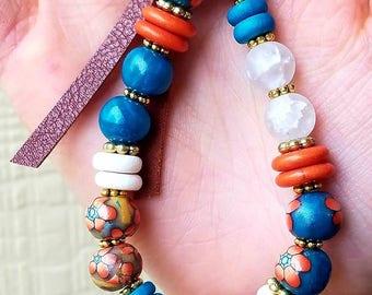 Colorful Keychain Bracelet, Beaded Wristlet