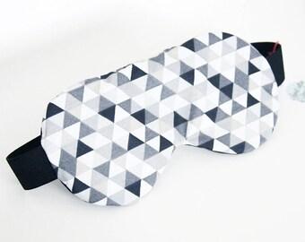 Sleeping mask, sleep - MONOCHROME black TRIANGLES pattern (hide-eyes, rest, sleep, NAP)