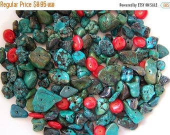 ON SALE 1/4 lb Pound Turquoise & Red Bamboo Coral Nugget Beads 4mm-16mm Mix 4 oz