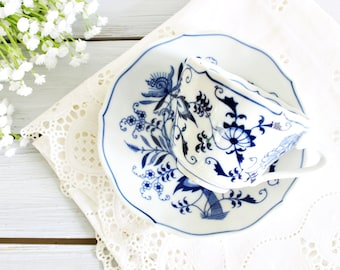 Vintage Blue Danube Cup & Saucer | Blue Danube Teacup, Blue Transferware Cup, Pretty Teacup, Blue White Mug, Japan Teacup, Vintage Teacup