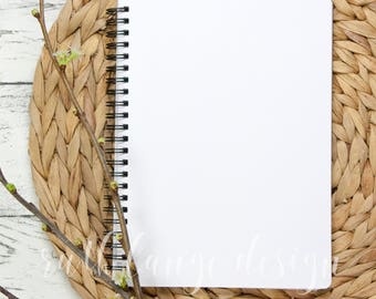 Basket & Twigs styled stock photo, flat lay background for Hand-Lettering