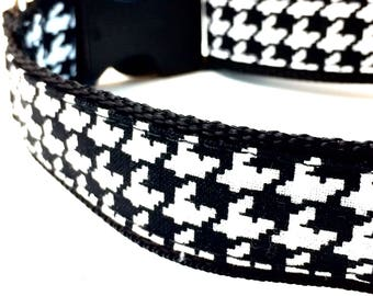 Houndstooth Dog Collar - Houndstooth Leash - Houndstooth Harness - Personalized Dog Collar - Black Dog Collar