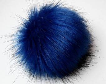 Size S Blue faux fur pom pom 4.5 inches/ 11cm