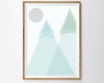 Mountains Children's Print, mountain print, mountain poster, nursery, nursery print, nursery poster