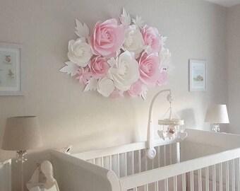 Nursery Paper Flowers - Paper Flowers Wall Decor - Large Paper Flowers - Paper Flower Wall