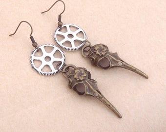 Earrings steampunk gear and headed bird skull skeleton
