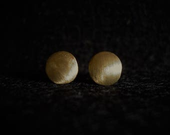 Ear plug brass round brushed geometric