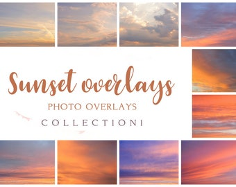 Set collection Sunset Overlays, sky overlay, sunset overlay, sun overlays