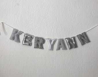 Garland name padded fabric, unique gift idea!