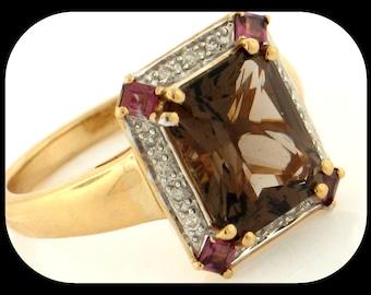 NEW Simon Golub 14K Yellow Gold Smoky Quartz, Rhodolite Garnet & Diamond RING