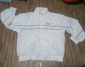 Vintage 90s Asics Windbreaker Jacket Ful lzipper men Size L