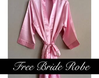 Solid Bridesmaid Robes- Satin Kimono Floral Robes for Bridesmaids in 11 colors