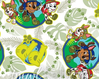 Woven Fabric - Green Paw Patrol Jungle Patrol Pups - Fat Quarter Yard +