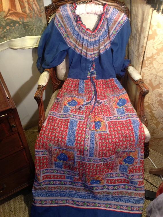 70's vintage kati maxi peasant dress. Lined. Good. 36 bustx60 length