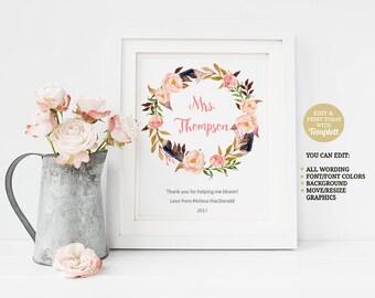 Printable Teacher Appreciation Gift, Teacher Printable, Gift for Teacher, Classroom Decor, Thank You Teacher, Personalized, Floral Wreath
