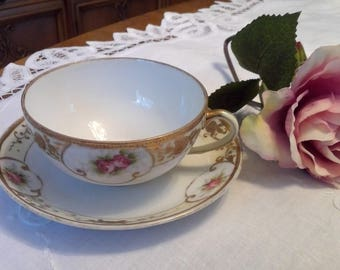 Vintage Maruki China Nippon Tea cup and Saucer, MAU3, Gold Encrusted Flowers, Pink Roses, Wide Mouth, Made in Japan, shabby chic, cottage