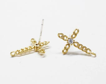 E0204/Anti-Tarnished Matte Gold Plating Over Brass+CZ/Cubic Chain Cross Stud Earrings/11x16.8mm/2pcs