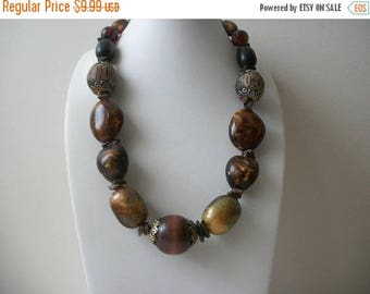 ON SALE Vintage Chunky Earthy Wood Acrylic Metal Necklace 121416