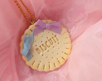 Pastel Bow Cookie Necklace, Kawaii Biscuit Necklace, Sweet Lolita Necklace