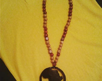 Black Circle Africa Continent with Wooden Beads necklace