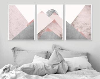 Trending Art, Printable Art, Downloadable Prints, Set of 3 Prints, Mountain Print Set, Grey Pink, Grey Bedroom, Scandinavian Print, Wall Art