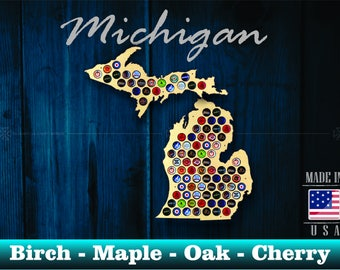 Michigan Beer Cap Map MI - Beer Cap Holder Beer Cap Display Gift for Him Wedding Gift Fathers Day Birthday Unique Christmas Gift