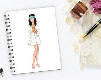 Darling Writing journal,Spiral notebook,Bullet journal,sketchbook blank,Fashion notebook.Audrey Hepburn notebook, Holly Golightly notebook